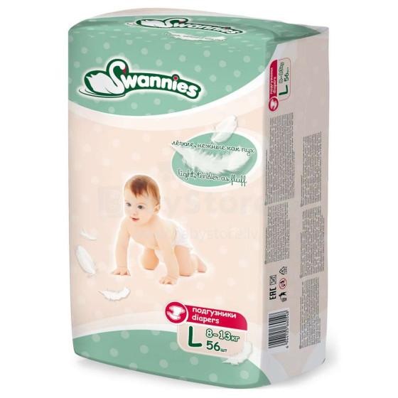 Swannies Diapers Art.117856 Bērnu autiņbiksītes L izmērs no 8-13kg, 56gab.