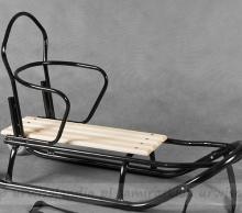 Gusio Art.72560 Bērnu kvalitatīvas koka/metāla ragavas no metāla un koka ar muguriņu un ar stumjamo regulējamo rokturi